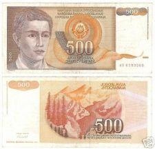 Buy YUGOSLOVIA 500 DINERA HIGH DENOMINATION NOTE~FREE SHIP~