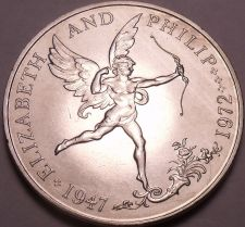 Buy Rare Guernsey 1972 25 Pence~Elizabeth And Phillip 25th Anniversary~Cupid~Fr/Ship