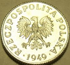 Buy Gem Unc Poland 1949 1 Grosz~Only Year Ever Minted~Free Shipping