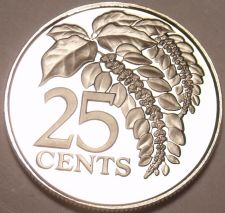 Buy Rare Proof Trinidad & Tobago 1974 25 Cents~Chaconia~14,000 Minted~Free Shipping