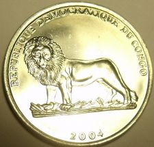 Buy Gem Unc Congo 2004 One Franc~Papal Visit To Congo~Lion Coin~Free Shipping