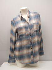 Buy SIZE L Womens Button Down Shirt SELF ESTEEM Blue Plaid Lace Back Long Sleeves