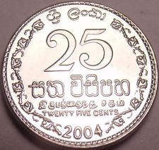 Buy Gem Brilliant Unc Sri Lanka 2004 25 Cents~Fantastic Coin~Free Shipping