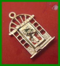 Buy vintage CHRISTMAS HOLIDAY CHARM : Door Opens - Merry Xmas Inside - Nickel Plated