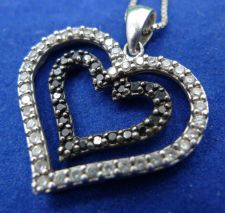"Buy Heart Pendant Sterling 925 Silver Black and White Stones marked CZ CH 17"" Chain"