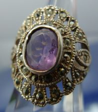 "Buy sz 6 Ring : sterling 925 silver Marcasite and Amethyst signed ""GM"" or ""CM"" Thai"