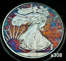 Buy High Grade Rainbow Toned Silver American Eagle 1oz fine silver uncirc. #a308