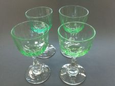 Buy Hand cut Sherry / port glasses Green bowl 4 pieces