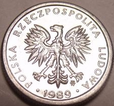 Buy Gem Unc Poland 1989-MW 1 Zloty~1st Year Ever~Minted In Warsaw~Free Shipping