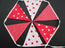 Buy Valentine Red Hearts Cotton Fabric Bunting Double Sided Banner 6 Flags Yard 35in