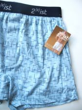 Buy A0321 2(x)ist Men's Pure 100% Cotton Knit Boxer 1801 Blue Cloud Small Large NEW