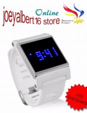 Buy Blue LED Touch Screen Wrist Watch - Time, Date, White Strap