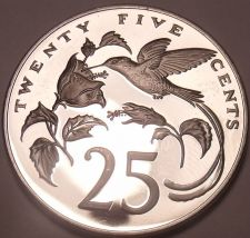 Buy Huge Proof Jamaica 1975 25 Cents~Hummingbird~Mintage 16,000~Free Shipping~