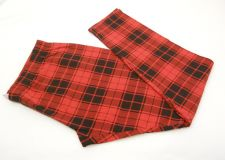 Buy SIZE S Womens Ankle Leggings NO BOUNDARIES Red Black Plaid Elastic Inseam 28