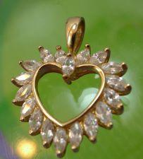 Buy Gold Vermeil Over Sterling Heart Pendant marked 925 CZ - NWOT