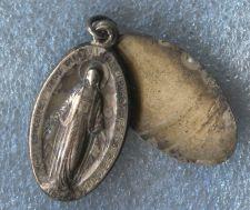 Buy Vintage Sterling Miraculous Mary Slide Locket Medal Place For Monogram