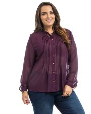 Buy Roman Plum Pleated Long Sleeves Collared Sheer Chiffon Button Shirt Size 1X-3X