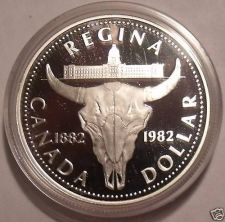 Buy Canada Silver Proof 1982 Commemorative Dollar~Regina~Cattle Skull~Free Shipping