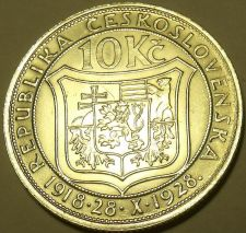 Buy Huge Silver Czechoslovakia 1928 10 Korun~10th Anniv of Independence~Free Ship