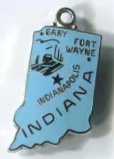 Buy INDIANA HOOSIER STATE : Enamel & Sterling Silver Travel Souvenir Map Charm