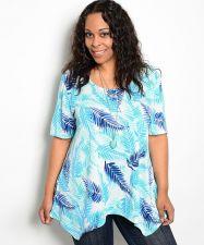 Buy Joseph Q Tropical Scoop Neck Short Sleeves Asymmetrical Knit Top Size 1XL-3XL