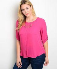 Buy Zenobia Magenta Pink 3/4 Tab Sleeves Scoop Neck 2 Pockets Top Size 1XL-3XL