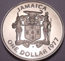 Buy Rare Cameo Proof Jamaica 1977 Dollar~Only 10,000 Minted~Prime Minister~Free Ship