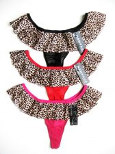 Buy A0191T Rampage Intimates NEW Leopard Prints Ruffle Waistband Microfiber Thong PR