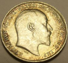 Buy Super Au/Unc Silver Great Britain 1902 3-Pence~Excellent~Free Shipping