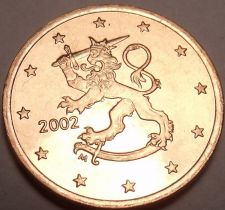 Buy Gem Unc Finland 2002 5 Euro Cents~Standing Lion With Sword~Free Shipping