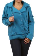 Buy Ambiance Blue/Burgundy Warm Winter Hoodie Button Coat Plus Size 1x 2x 3x
