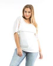 Buy Roman Ivory Jeweled Lace Chiffon Overlay Sleeveless Knit Top Jr Plus Size 1X-3X