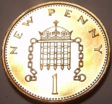 Buy Proof Great Britain 1971 Penny~1st Year Ever Minted~Crowned Portocullis~Free Shi