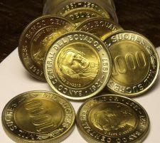 Buy Gem Unc Roll (20) Ecuador 1997 1,000 Sucres~Bimetal~70th Anniv National Bank~F/S