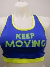 Buy BRA XL Women Sport Bra DANSKIN Blue Racer Back Performance Fit Moisture Wicking