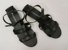Buy SIZE 10 Womens T-Strap Sandals NO BOUNDARIES Solid Black Ankle Straps Buckle