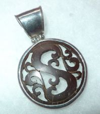 "Buy CARVED IN WOOD pendant STERLING 925 SILVER signed "" ATI ID """