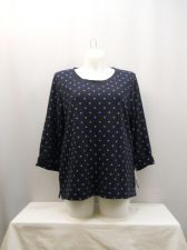 Buy PLUS SIZE 1X Sweatshirt KAREN SCOTT Polka Dot 3/4 Tab Button Sleeves Crew Neck