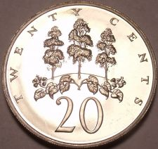 Buy Large Proof Jamaica 1970 20 Cents~Only 12,000 Minted~Mahoe Tree~Free Shipping