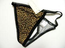 Buy X0164 Lady Princess NEW Black Stretch Cotton Picot Trim Animal Prints Thong PR