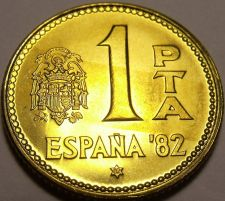 Buy Gem Unc Spain 1980 (82) 1 Peseta~World Cup Soccer Games~Only Year Minted~Fr/Ship