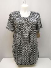 Buy White Stag Womens Tunic Top Size XXL Black Geometric Macrame Scoop Neck Pullover