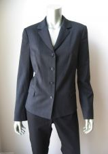Buy Real Clothes NEW Gray Lined Stretch Wool Long Sleeved 4-Button Down Blazer 8 PR