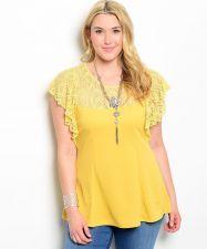 Buy Roman MustardYellow Lace Batwing Sleeve Scoop Neck Top Junior Plus Size 1X-3X