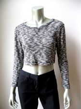 Buy Ginger G NEW Black N White Textured Cotton Blended Long Sleeve Casual Top M PR