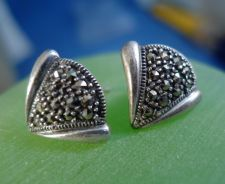 "Buy Post Earrings: Vintage Sterling Silver Marcasite Deco Earrings Signed ""A"""