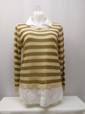 Buy Faded Glory Women's Sweater Size XL Striped Layered Twofer Collared Pullover