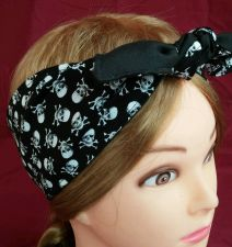 Buy Headband hair wraptie bandanna Skulls print great for bikers men women