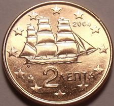 Buy Gem Unc Greece 2004 2 Euro Cents~Corvette Sailing Ship~Minted In Athens~Free Shi