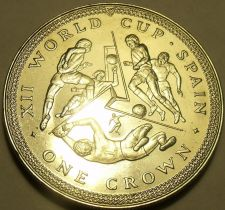 Buy Massive Gem Unc Isle Of Man 1982 Crown~XII World Cup Soccer In Spain~Free Ship